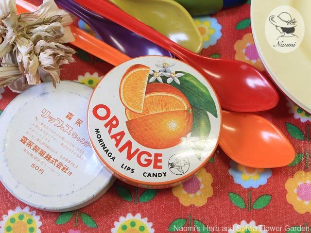 森永リップスキャンデー缶 オレンジ