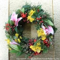 お正月の生け花でリメイクリース