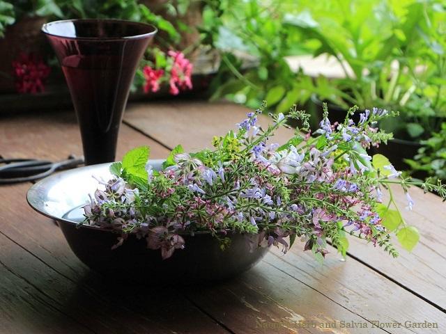 庭の花を摘んで