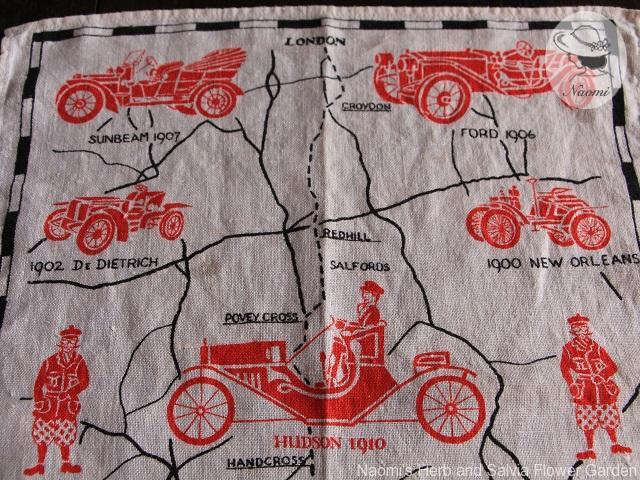 Antique Cars Linen Tea Towel