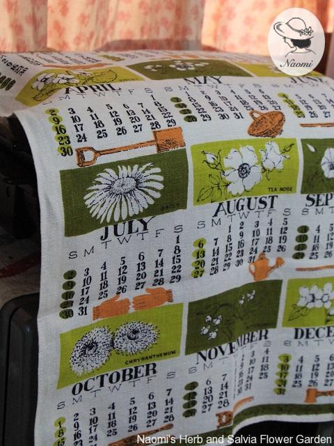 Gardening 1961 Calendar Tea Towel