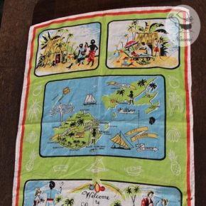 ' Welcome to Smiling Fiji ' Dunmoy vintage Tea Towel