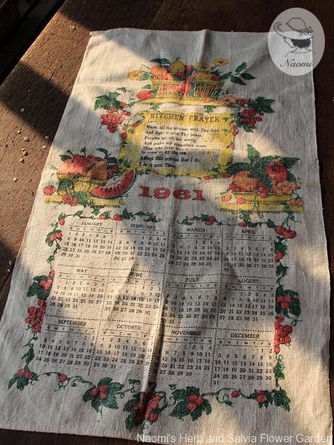 Vintage 1961 Calendar tea towel
