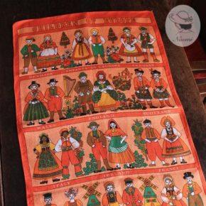 Vintage Linen Tea Towel 'Children of Europe'