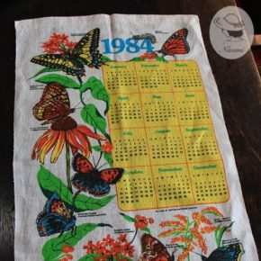 Vintage 1984 Calendar Tea Towel