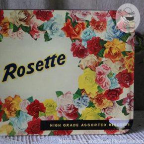 明治ローゼットビスケット缶③ – 薔薇の飾り枠