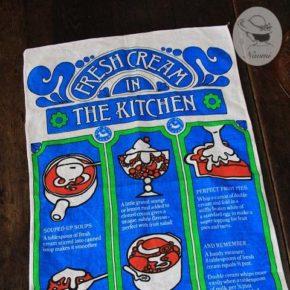 Vintage Tea Towel 'Fresh Cream in The Kitchen'